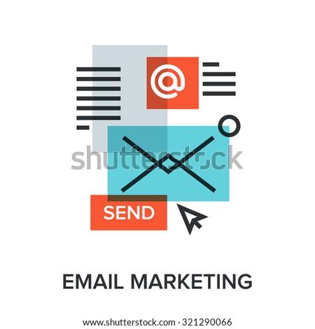 Vector illustration of email marketing flat line design concept. - stock vector