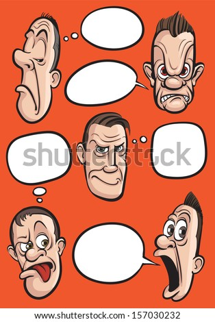 Vector illustration of emotion faces with speech balloons vector collection. Easy-edit layered vector EPS10 file scalable to any size without quality loss. High resolution raster JPG file is included. - stock vector