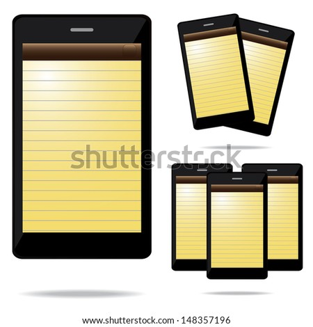 vector illustration of empty note phone - stock vector