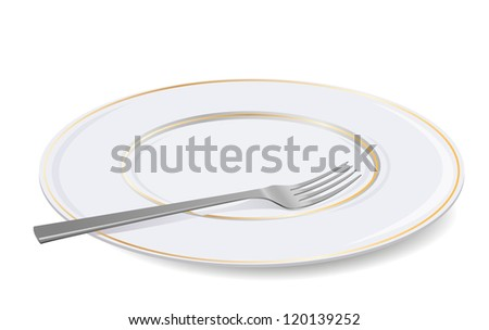 Vector illustration of empty plate and fork. - stock vector
