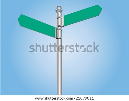 Vector illustration of empty road sign post