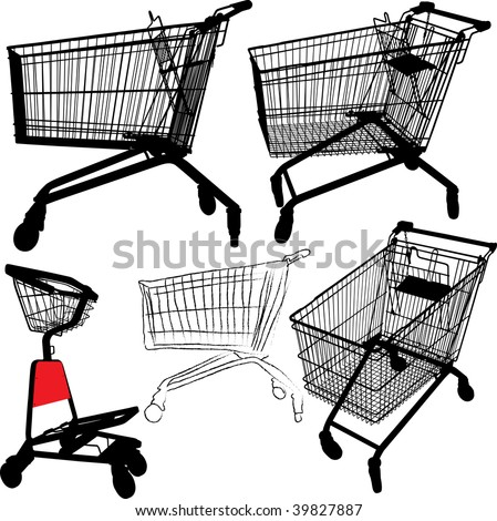 Vector illustration of empty shopping trolley silhouettes - stock vector