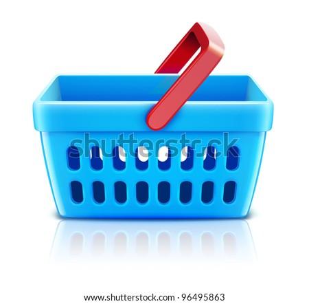 Vector illustration of empty supermarket shopping basket isolated on white background. - stock vector