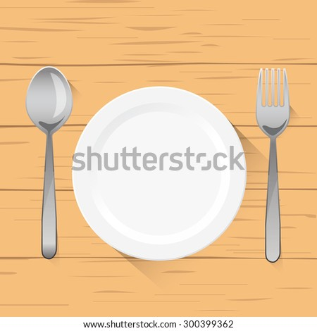Vector illustration of empty white plate with spoon and fork ,top view. on wood background - stock vector