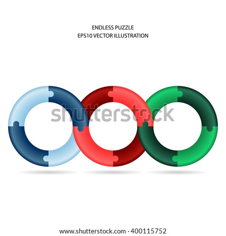 Vector illustration of endless puzzles joined in three circles. Puzzle circles. Colorful puzzle pieces. Endless vector puzzles. Blue, red, green seamless puzzles. Shadow below puzzles. - stock vector