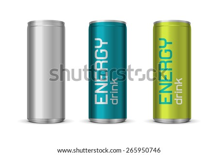 Vector illustration of energy drink cans in different colors, isolated on white background  - stock vector