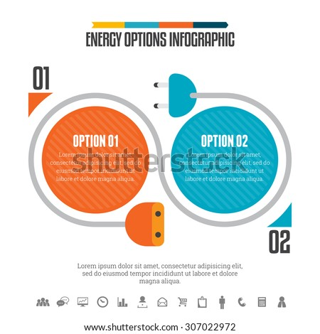 Vector illustration of energy options infographic design element. - stock vector