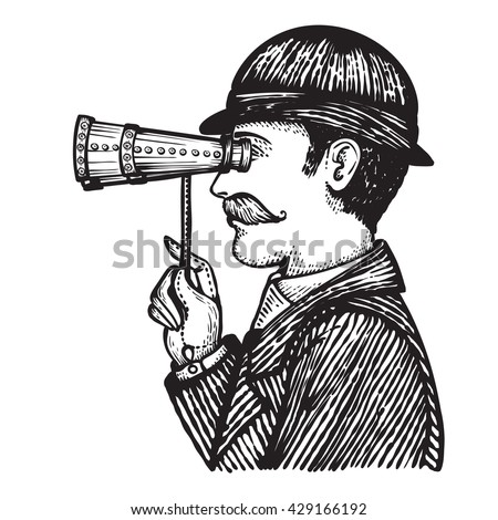 Vector illustration of engraved secret spy - danger villain searching for private information concept as a vintage man looking through binoculars.