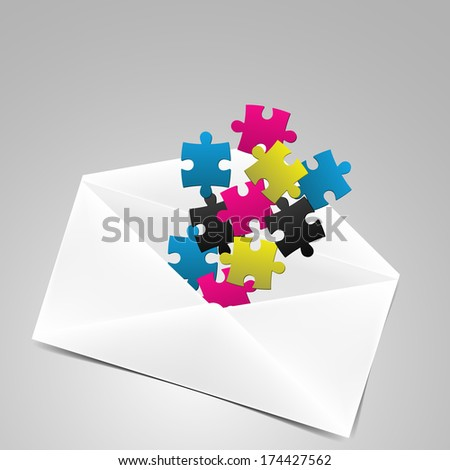 Vector illustration of envelope with puzzles in fresh colors