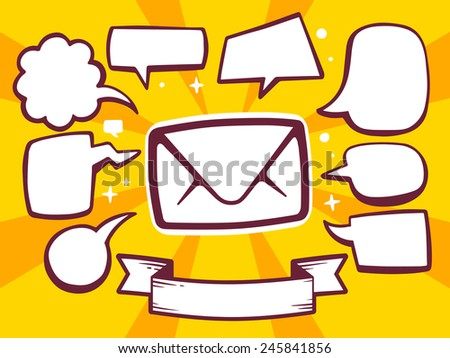 Vector illustration of envelope with speech comics bubbles on yellow background. Line art design for web, site, advertising, banner, poster, board and print. - stock vector