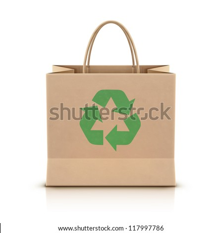 Vector illustration of environmentally friendly paper shopping bag with paper handles and green recycle logo on the front - stock vector