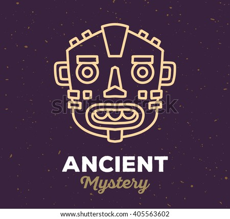 Vector illustration of ethnic tribal yellow color mask with white text on dark sand texture background. Hand drawn line art design.