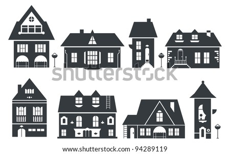 vector illustration of europe and american houses - stock vector