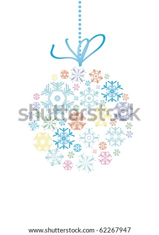 Vector illustration of evening ball made of snowflakes - stock vector