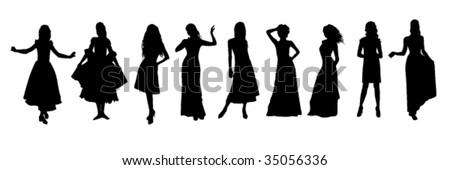 vector illustration of evening dress - stock vector