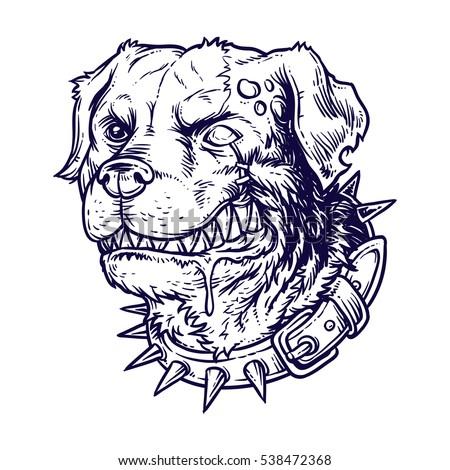 Vector Illustration Evil Mad Dog Stock Vector 538472368 ...