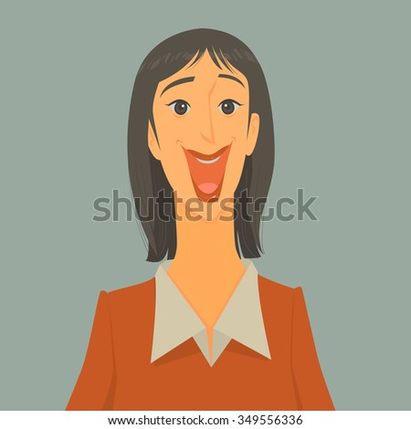 Vector Illustration of excited woman over grey background. - stock vector