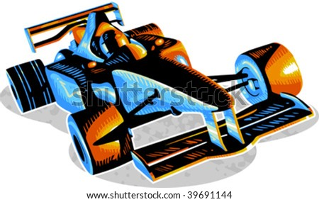 Vector illustration of f1 racing car - stock vector