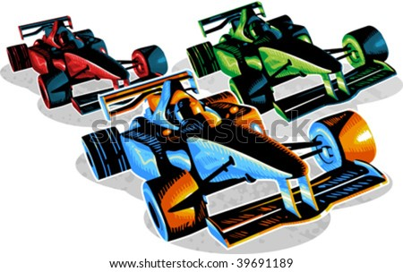 Vector illustration of f1 racing cars - stock vector