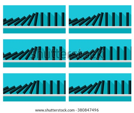 Vector illustration of falling black dominoes animation sprite with blue background  - stock vector