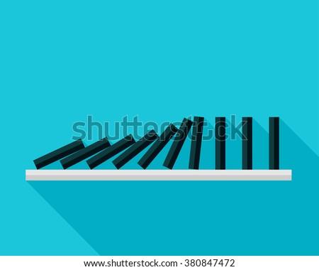 Vector illustration of falling black dominoes on blue background  - stock vector