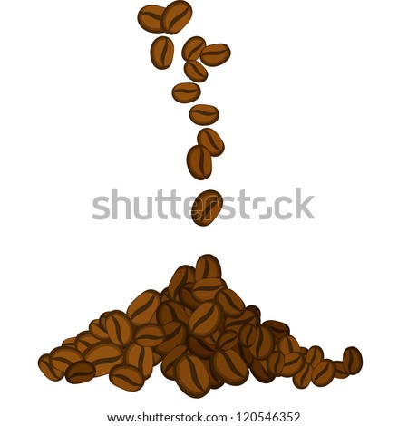 Vector illustration of falling coffee beans on white background - stock vector