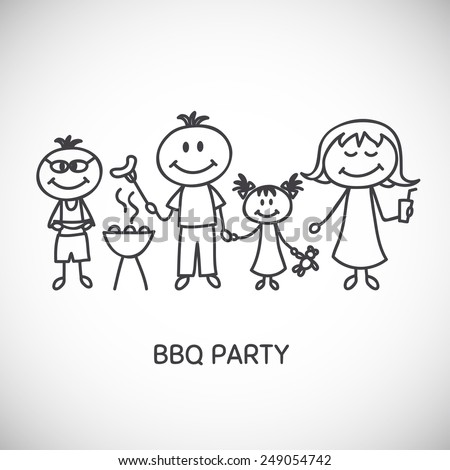 Vector illustration of family barbecue party - stock vector