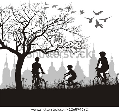 vector illustration of family on bicycles, behind the historic city - stock vector