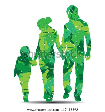 vector illustration of family silhouette with leaves - stock vector