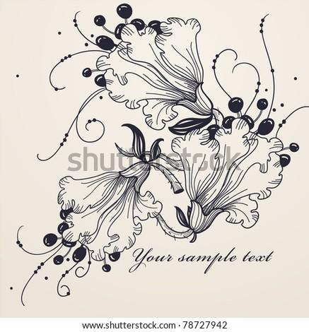 vector illustration of fantasy flowers - stock vector