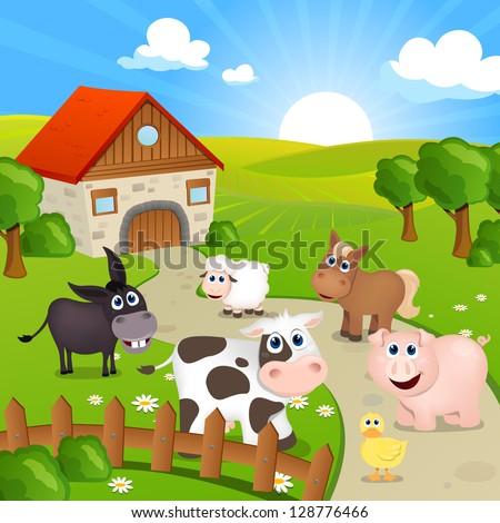 Vector Illustration of Farm Animals - stock vector