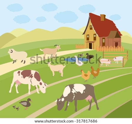 Vector Illustration of Farm Animals. illustration of rural scene with farm animals. Landscape farm vector illustration. Grazing animals. - stock vector