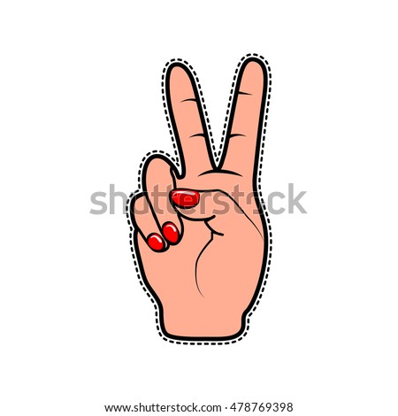 Vector illustration of fashion fun patch sticker with girls two fingers and palm as peace gesture