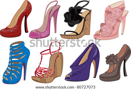 Vector illustration of fashion high heels shoes on white background - stock vector