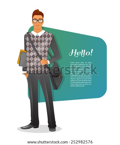 Vector illustration of Fashion man character image - stock vector