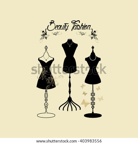Vector illustration of fashion mannequin a fashion show./ body forms / fashion mannequin / Retro Fashion Shows / Vintage Boutique - stock vector