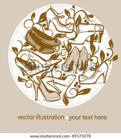 vector illustration of fashion shoes on a floral background - stock vector