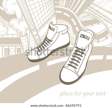 vector illustration of fashion sneakers on an urban background