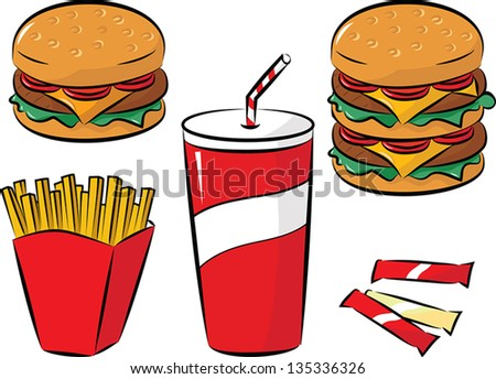 vector illustration of fast food collection - stock vector