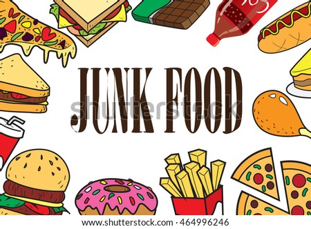 Vector illustration of fast foods in colored doodle style with junk food written in the middle