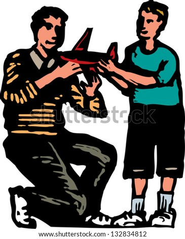 Vector illustration of father and son looking at airplane model