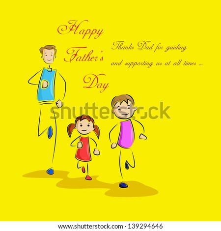 vector illustration of father playing with kids in Father's Day background - stock vector