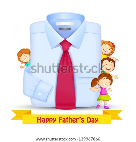 vector illustration of Father's Day Background with kids peeping behind shirt - stock vector