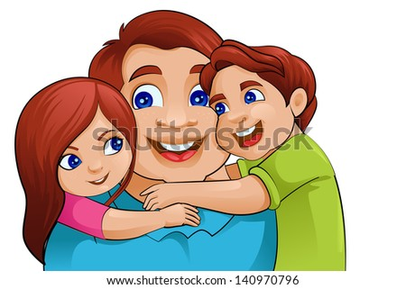 vector illustration of father with kid in Father's Day - stock vector