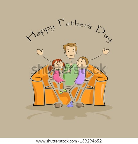 vector illustration of father with kid in Father's Day background - stock vector