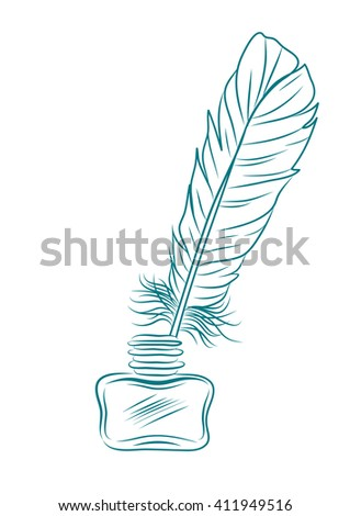 vector illustration of feather and ink pot isolated on white. EPS