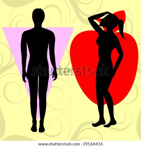 Vector Illustration of female body shape apple also known as cone. Shape with wider upper body and narrow hips. - stock vector