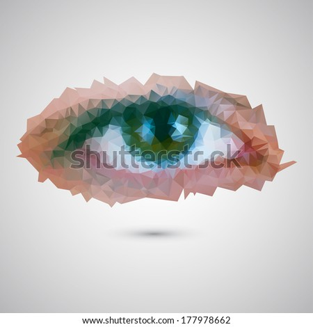 Vector illustration of female eye consisted of triangles - stock vector