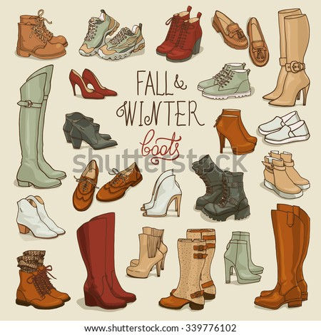 Vector illustration of  female fall and winter shoes, boots set. Hand-drown footwear illustrations. Fashion collection sketch. - stock vector