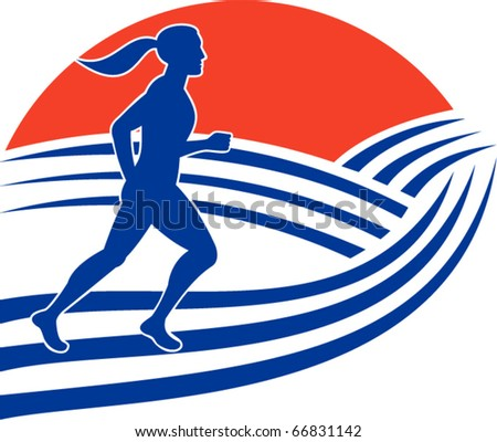 vector illustration of female marathon runner running side view with mountains in background - stock vector